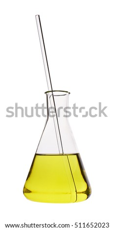 Test tube with yellow liquid, isolated on white background