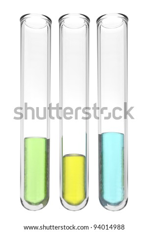 test tubes with liquids in brazilian colors on white background