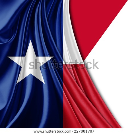 Texas flag and red white background