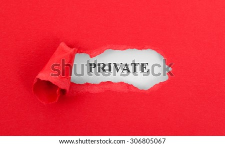 Text appearing behind torn red envelop - Private