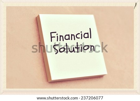 Text financial solution on the short note texture background