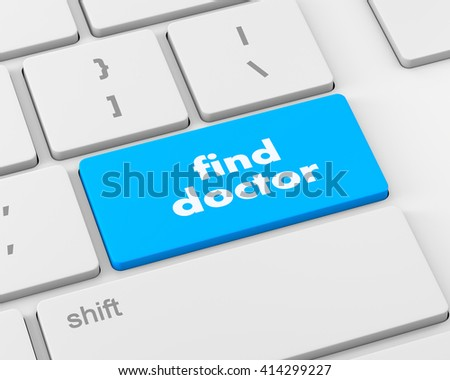 Text find doctor button, 3d rendering
