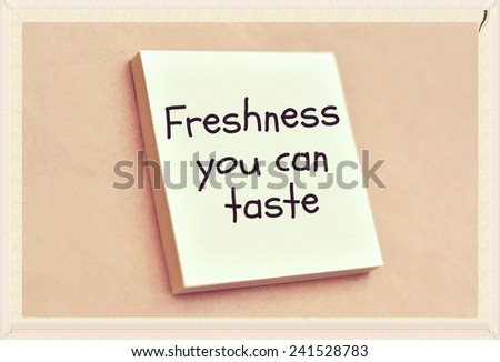 Text freshness you can  taste on the short note texture background