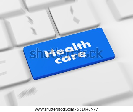 Text health care button, 3d rendering