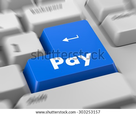 Text pay button 3d render