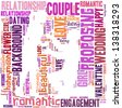 text/word cloud/word collage composed in the shape of a man proposing to a woman - stock photo