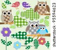 Textile stickers of owls and birds in forest.Raster version - stock vector