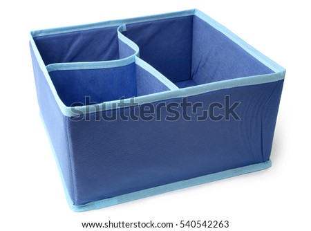 Textile storage box on white background