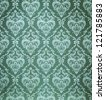 texture background of the seamless damask green wallpaper - stock photo