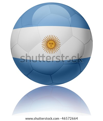 Texture of Argentina flag on glossy soccer ball