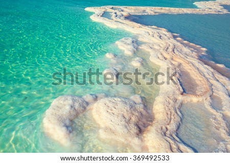Texture of Dead sea. Salty sea shore