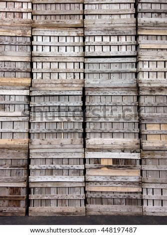 Texture of wooden containers / crates at local farm in Vermont