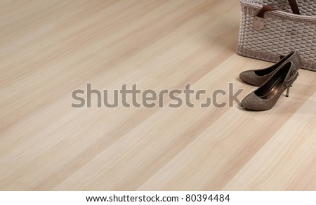Texture of wooden floor with empty space to put text or photo on it
