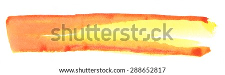 Texture watercolor smear in yellow-red tones isolated on white background