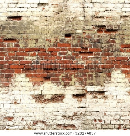 Textured Background Or Studio Backdrop Of Decayed Old Red And White Bricks In The Outdoor Uneven