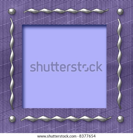 textured frame with metal studs and cutout center