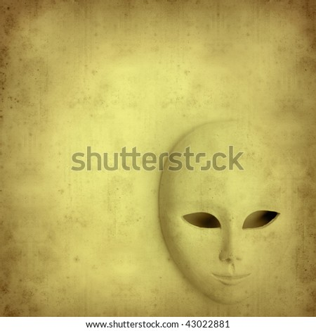 textured old paper background with white impassive mask