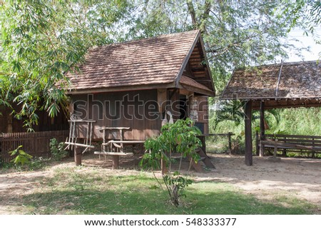 Thai ancient style barn house for rice storage after harvest season