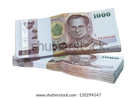Thai banknotes isolated on white background.