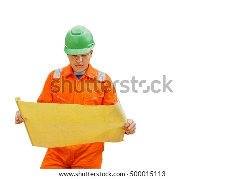 Thai construction site worker wearing high visibility safety jacket standing and watching paper isolated on white background with clipping path