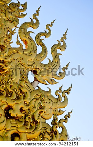 Thai decoration in Wat Rong Kun in Chiang Rai Province Thailand Amazing Wat Thai