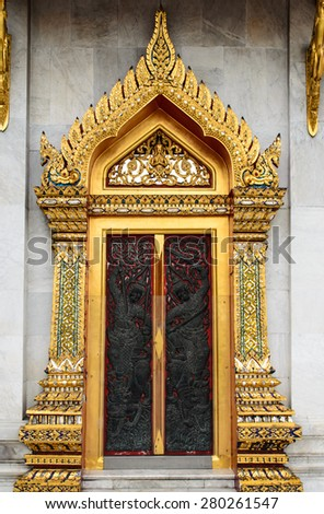 thai door temple & Carving Thai Temple Door Golden Color Stock Photo 407190625 ... Pezcame.Com
