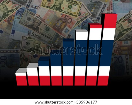 Thai flag bar chart over Euros and Dollars 3d illustration