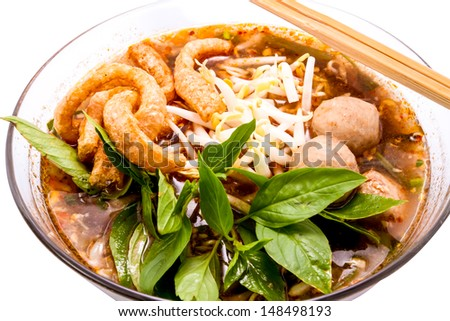 Thai food.noodle soup with pork ball