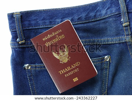 Thai passport in back pocket