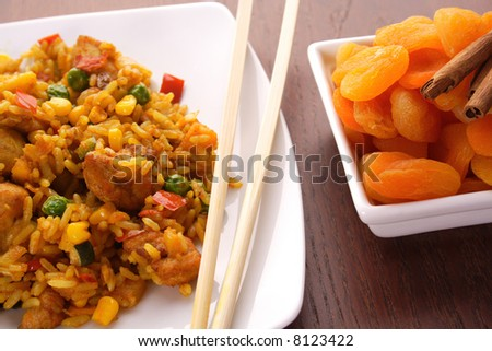 Thai peanut chicken curry with rice. chinese food. Indian curries and rice dishes