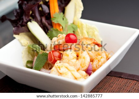 Thai Seafood Salad - Thailand style seafood salad with clear vermicelli style rice noodles and veggies.