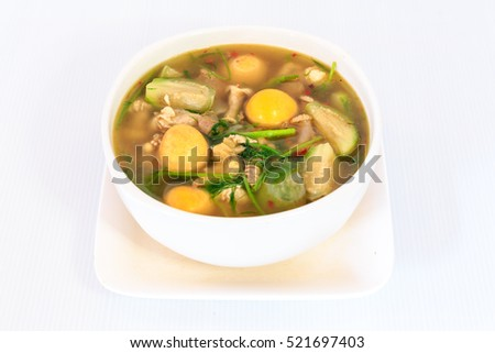 thai traditional cuisine hot spicy chicken  soup in white bowl