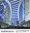 Thailand - Bangkok    Chong Nonsi skywalk at bangkok skytrain sation on Silom Line - stock photo