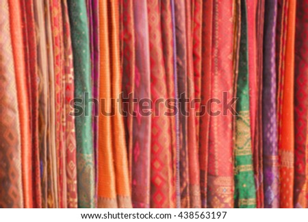 Thailand beautiful blurred sarong and Colorful Thai textile texture with many design.