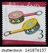 "THAILAND - CIRCA 2010: A stamp printed in Thailand shows the image of Tin Toy, from the series ""International letter writing week 2010 Commemorative Stamp"", circa 2010. - stock photo"