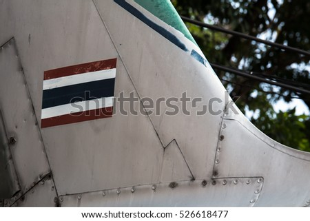 Thailand flag painting on airplane tail (empennage)