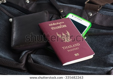 Thailand passport & wallet with vintage bag