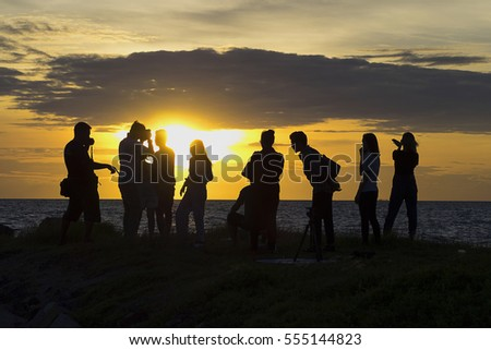 Thailand-September 3,2016 : People enjoying sunset at Von-Na-Pa beach, Chonburi, Thailand.