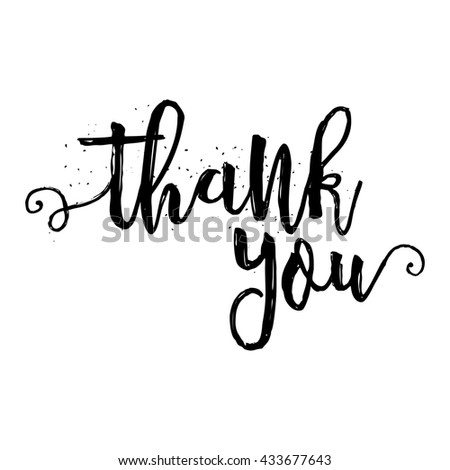 Thank You Calligraphy Sign Brush Painted Stock Vector