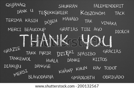 Thank you word cloud written in many different languages on a chalkboard