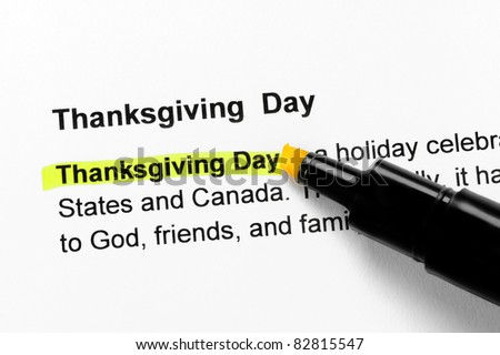 Thanksgiving Day text highlighted in yellow, under the same heading