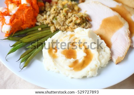 Thanksgiving meal with turkey, mashed potatoes, stuffing, green beans and yams with marshmallows and gravy