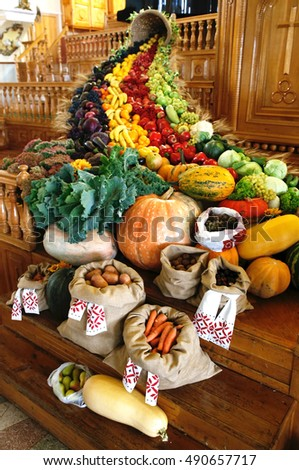 Thanksgiving to God for the harvest, the harvest feast of fruits and vegetables fruits