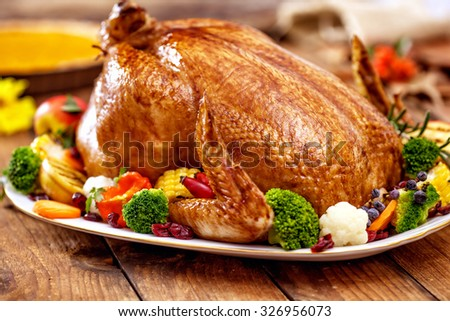 Thanksgiving Turkey dinner on wooden table