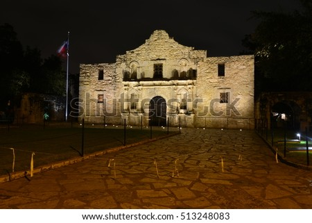The Alamo at night at around the time the battle was fought very early in the morning just before daylight
