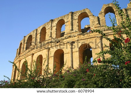 The ancient Collosseum at EL Jem in Tunisisa North Africa
