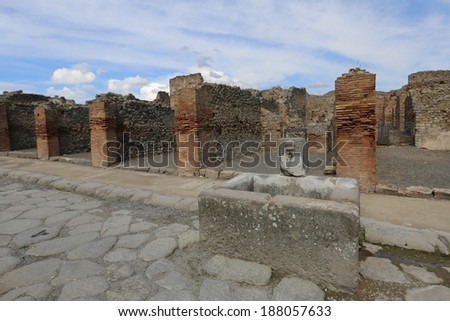 The ancient Roman city Pompei near Naples, buried under a layer of a volcanic ash as a result of eruption of Vesuvius