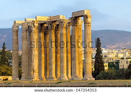 The Ancient temple of Zeus in Athens, seen in the evening sun