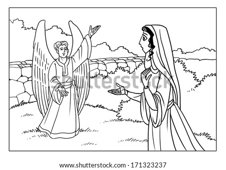 Askib 39 s bible new testament set on shutterstock for Gabriel visits mary coloring page