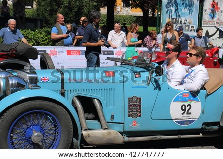 "The annual rally of vintage cars, finish ""1000 miles"" Brescia-Rome-Brescia Italy May 22, 2016"